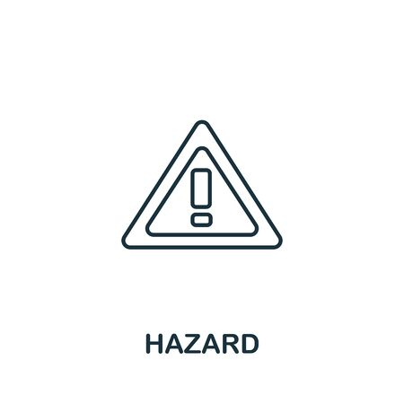 Hazard icon from work safety collection. Simple line element hazard symbol for templates, web design and infographics. Иллюстрация
