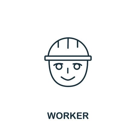 Worker icon from work safety collection. Simple line element worker symbol for templates, web design and infographics. Иллюстрация