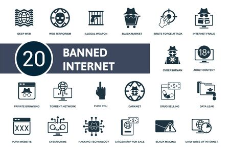 Banned Internet icon set. Collection contain black, market, deep, web, terrorism, hacking, data, leak, darknet and over icons. Banned Internet elements set.