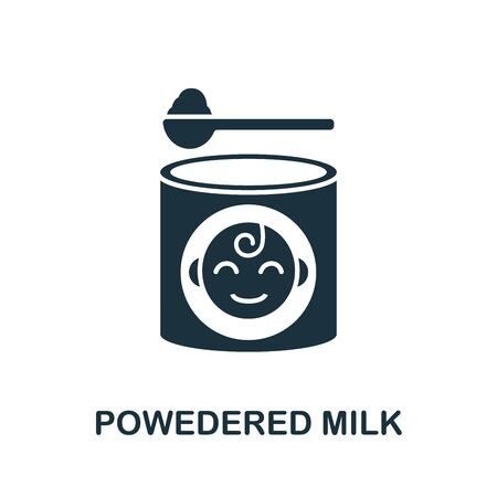 Powdered Milk icon. Simple illustration from baby feeding collection. Monochrome Powdered Milk icon for web design, templates and infographics.