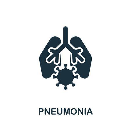 Pneumonia icon. Simple illustration from coronavirus collection. Monochrome Pneumonia icon for web design, templates and infographics.