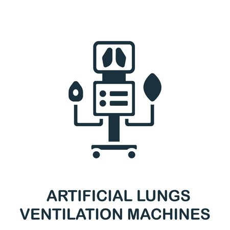 Artificial Lungs Ventilation Machines icon. Simple illustration from coronavirus collection. Monochrome Artificial Lungs Ventilation Machines icon for web design, templates and infographics. Vectores