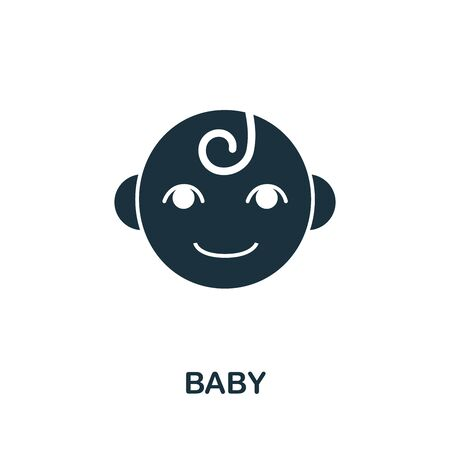 Baby icon. Simple illustration from baby feeding collection. Monochrome Baby icon for web design, templates and infographics. Çizim