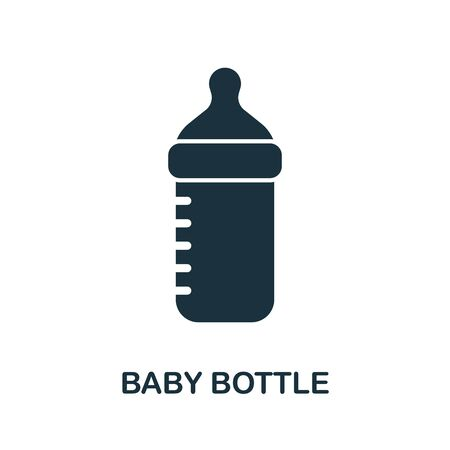 Baby Bottle icon. Simple illustration from baby feeding collection. Monochrome Baby Bottle icon for web design, templates and infographics.