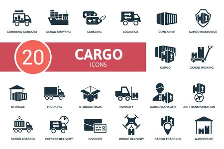 Cargo icon set. Collection contain labeling, combined cargoes, trucking, storage rack, storage and over icons. Cargo elements set. Ilustracja
