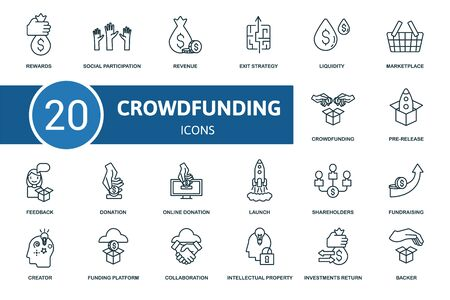 Crowdfunding icon set. Collection contain crowdfunding, creator, pre-release, fundraising and over icons. Crowdfunding elements set. 일러스트