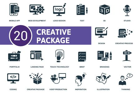 Creative Package icon set. Collection contain brief, inspiration, test, vector and over icons. Creative Package elements set. Vecteurs