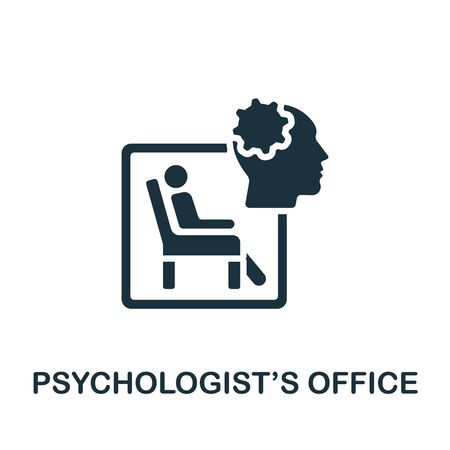 Psychologist'S Office icon. Simple illustration from psychology collection. Monochrome Psychologist'S Office icon for web design, templates and infographics. Vektorové ilustrace