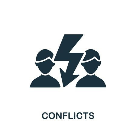 Conflicts icon. Simple illustration from psychology collection. Monochrome Conflicts icon for web design, templates and infographics.