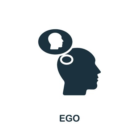 Ego icon. Simple illustration from psychology collection. Monochrome Ego icon for web design, templates and infographics.