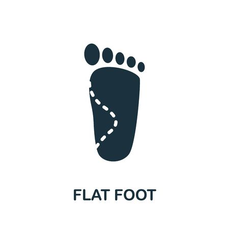 Flat Foot icon. Simple illustration from trauma rehabilitation collection. Monochrome Flat Foot icon for web design, templates and infographics.