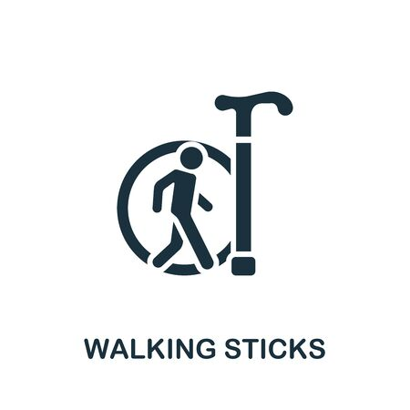 Walking Sticks icon. Simple illustration from trauma rehabilitation collection. Monochrome Walking Sticks icon for web design, templates and infographics.