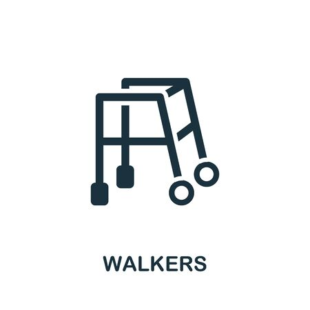 Walkers icon. Simple illustration from trauma rehabilitation collection. Monochrome Walkers icon for web design, templates and infographics.
