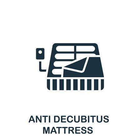Anti Decubitus Mattress icon. Simple illustration from trauma rehabilitation collection. Monochrome Anti Decubitus Mattress icon for web design, templates and infographics. Ilustração