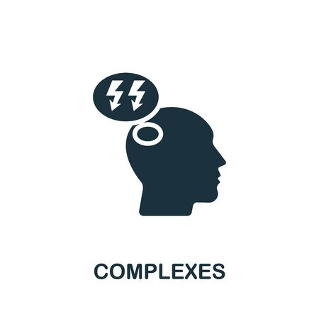 Complexes icon. Simple illustration from psychology collection. Monochrome Complexes icon for web design, templates and infographics. Vettoriali