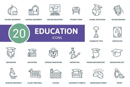 Education icon set. Collection contain student desk, chemistry test, school backpack, university campus and over icons. Education elements set. Иллюстрация