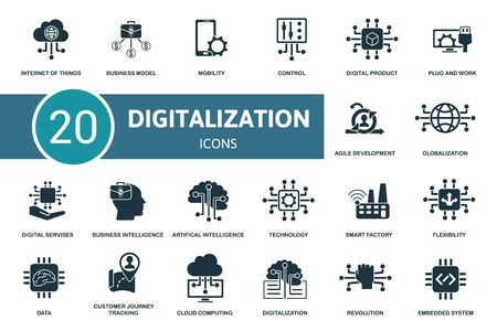 Digitalization icon set. Collection contain digital services, cloud computing, data, flexibility and over icons. Digitalization elements set.