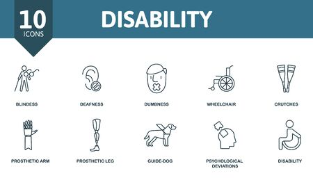 Disability icon set. Collection contain deafness, wheelchair, prosthetic arm, guide-dog and over icons. Disability elements set.