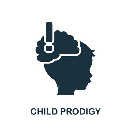 Child Prodigy icon. Simple illustration from child development collection. Monochrome Child Prodigy icon for web design, templates and infographics.