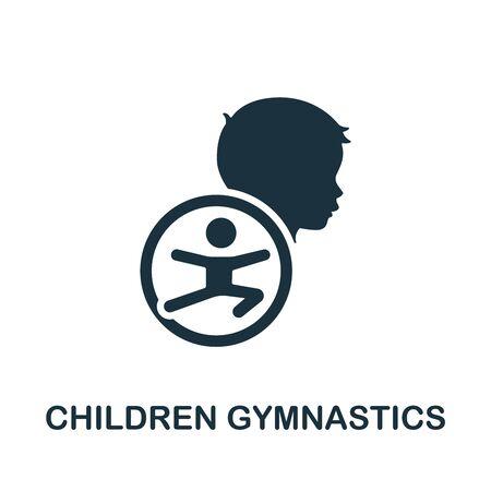 Children Gymnastics icon. Simple illustration from child development collection. Monochrome Children Gymnastics icon for web design, templates and infographics.