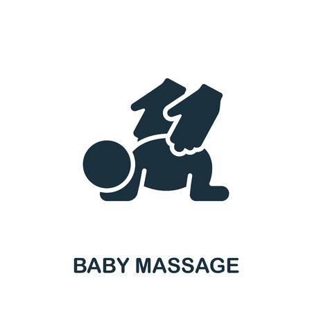 Baby Massage icon. Simple illustration from child development collection. Monochrome Baby Massage icon for web design, templates and infographics.