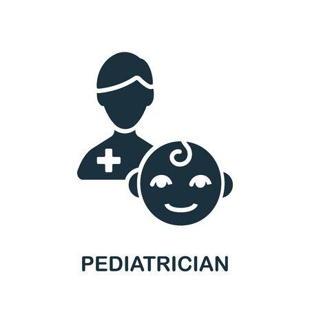 Pediatrician icon. Simple illustration from child development collection. Monochrome Pediatrician icon for web design, templates and infographics.