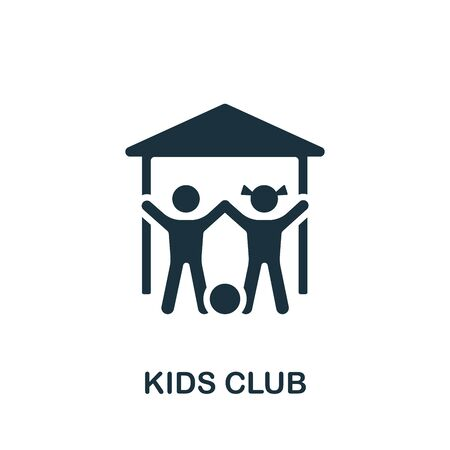 Kids Club icon. Simple illustration from child development collection. Monochrome Kids Club icon for web design, templates and infographics.