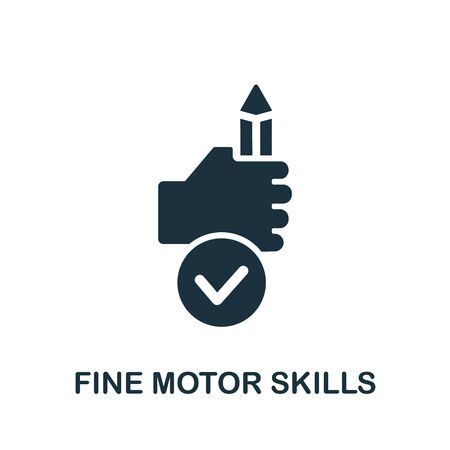 Fine Motor Skills icon. Simple illustration from child development collection. Monochrome Fine Motor Skills icon for web design, templates and infographics. Vecteurs