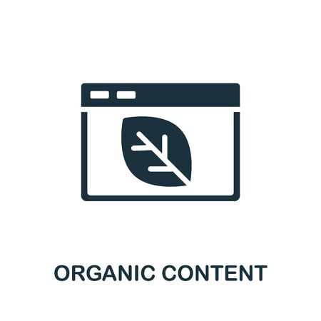 Organic Content icon. Simple illustration from content marketing collection. Monochrome Organic Content icon for web design, templates and infographics.