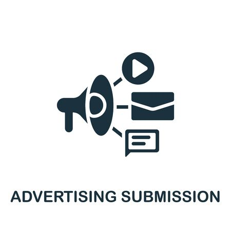 Advertising Submission icon. Simple illustration from content marketing collection. Monochrome Advertising Submission icon for web design, templates and infographics. 向量圖像