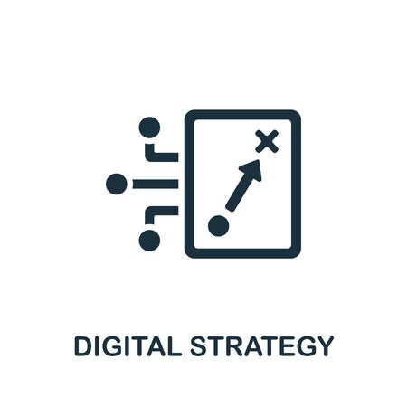Digital Strategy icon. Simple illustration from content marketing collection. Monochrome Digital Strategy icon for web design, templates and infographics. 向量圖像