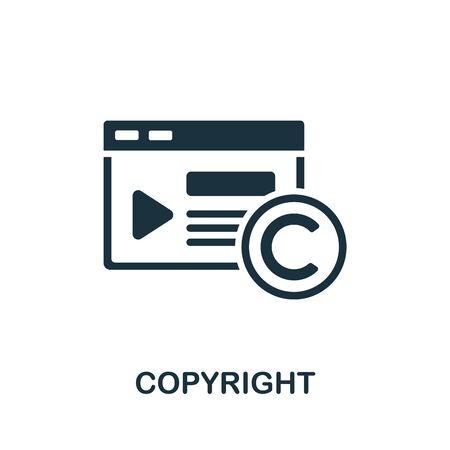 Copyright icon. Simple illustration from content marketing collection. Monochrome Copyright icon for web design, templates and infographics.