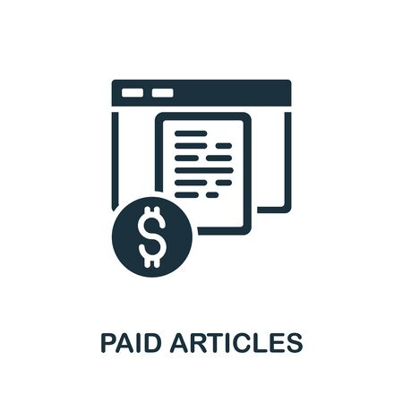 Paid Articles icon. Simple illustration from content marketing collection. Monochrome Paid Articles icon for web design, templates and infographics. 向量圖像
