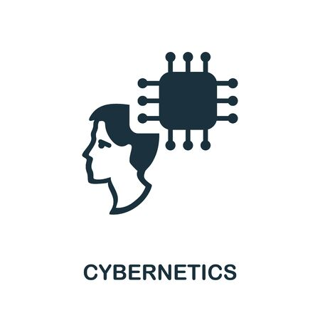 Cybernetics thin line icon. Creative simple design from artificial intelligence icons collection. Outline cybernetics icon for web design and mobile apps usage. 向量圖像