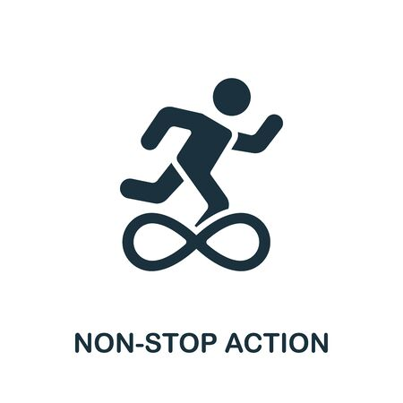 Non-Stop Action icon. Simple illustration from productive work collection. Monochrome Non-Stop Action icon for web design, templates and infographics. 向量圖像