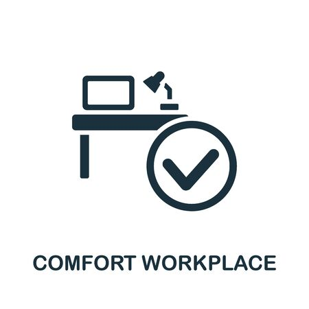 Comfort Workplace icon. Simple illustration from productive work collection. Monochrome Comfort Workplace icon for web design, templates and infographics. 向量圖像