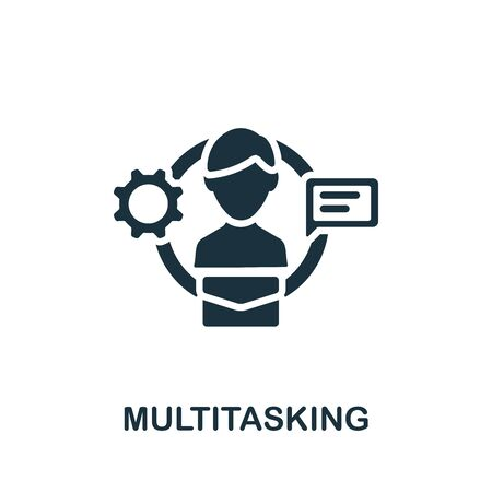 Multitasking icon. Simple illustration from productive work collection. Monochrome Multitasking icon for web design, templates and infographics. 向量圖像