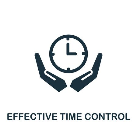 Effective Time Control icon. Simple illustration from productive work collection. Monochrome Effective Time Control icon for web design, templates and infographics.