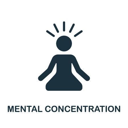 Mental Concentration icon. Simple illustration from productive work collection. Monochrome Mental Concentration icon for web design, templates and infographics.