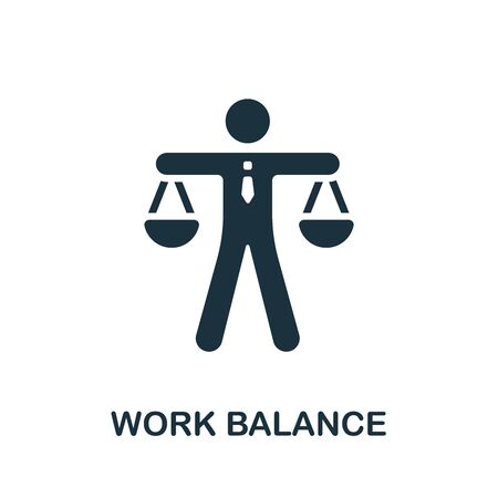 Work Balance icon. Simple illustration from productive work collection. Monochrome Work Balance icon for web design, templates and infographics.