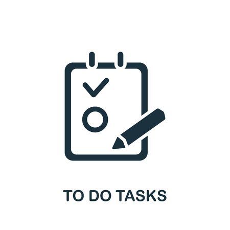 To do Tasks icon. Simple illustration from productive work collection. Monochrome To do Tasks icon for web design, templates and infographics. 向量圖像