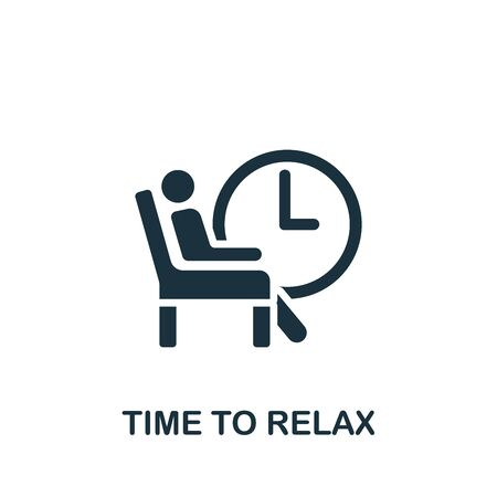 Time To Relax icon. Simple illustration from productive work collection. Monochrome Time To Relax icon for web design, templates and infographics. 向量圖像