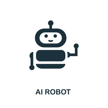 Ai Robot thin line icon. Creative simple design from artificial intelligence icons collection. Outline ai robot icon for web design and mobile apps usage.
