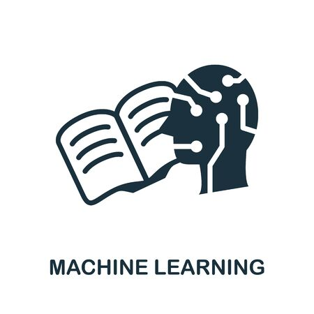 Machine Learning thin line icon. Creative simple design from artificial intelligence icons collection. Outline machine learning icon for web design and mobile apps usage. Vettoriali