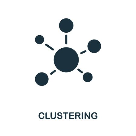 Clustering thin line icon. Creative simple design from artificial intelligence icons collection. Outline clustering icon for web design and mobile apps usage.