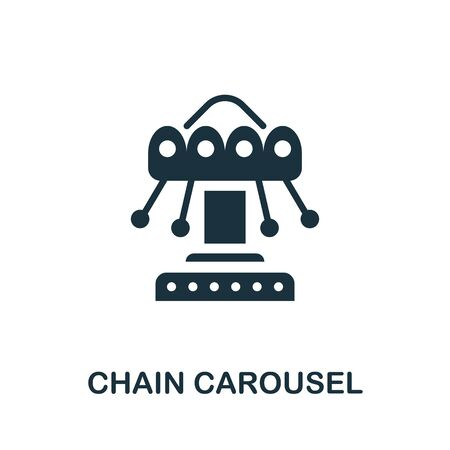 Chain Carousel icon. Simple illustration from amusement park collection. Monochrome Chain Carousel icon for web design, templates and infographics.