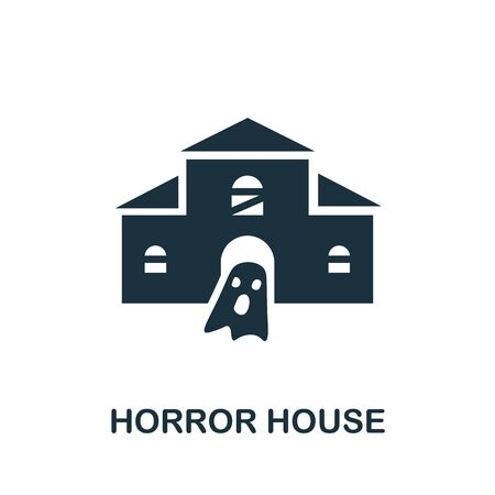 Horror House icon. Simple illustration from amusement park collection. Monochrome Horror House icon for web design, templates and infographics. 向量圖像