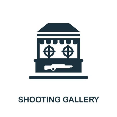 Shooting Gallery icon. Simple illustration from amusement park collection. Monochrome Shooting Gallery icon for web design, templates and infographics.