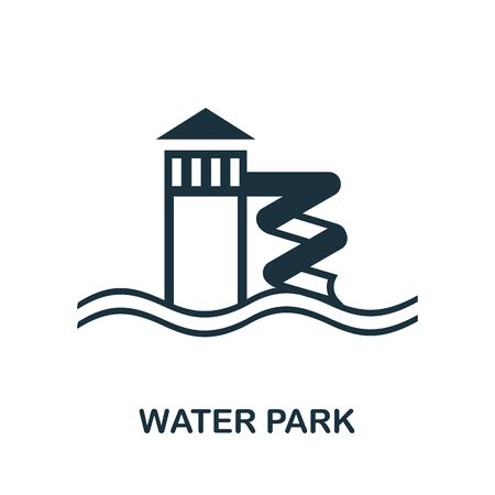 Water Park icon. Simple illustration from amusement park collection. Monochrome Water Park icon for web design, templates and infographics.