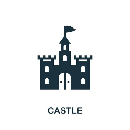 Castle icon. Simple illustration from amusement park collection. Monochrome Castle icon for web design, templates and infographics. Иллюстрация